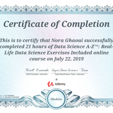 Data Science A-Z course completed